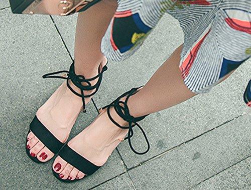 Voyage Moyens Talons Femme Noir Aisun Sandales Mode Chunky Tendence wZR7RvHq