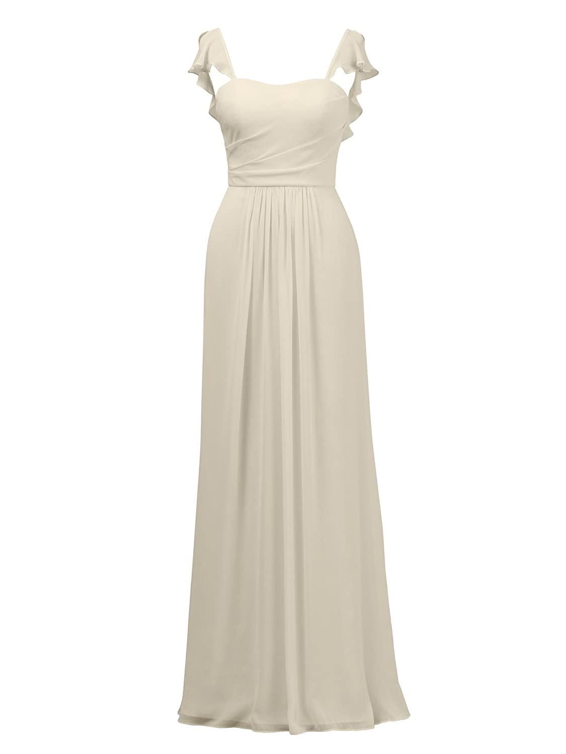 Champagne Alicepub Ruffles Bridesmaid Dress with Cap Sleeve Formal Evening Party Prom Gown