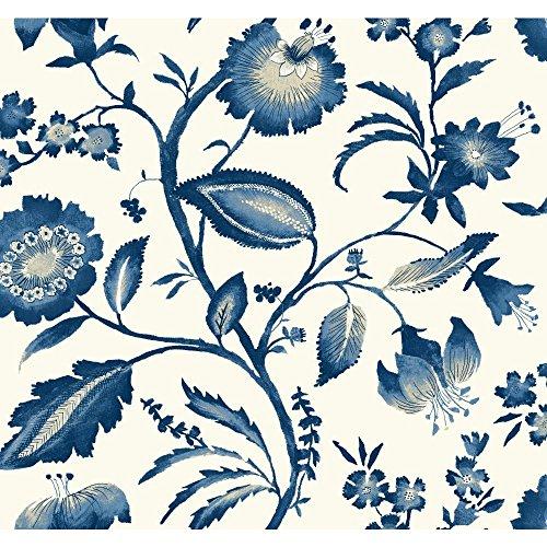 York Wallcoverings AT7021 Tropics Watercolor Jacobean Wallpaper, White/Light to Dark Blue/White/Beige