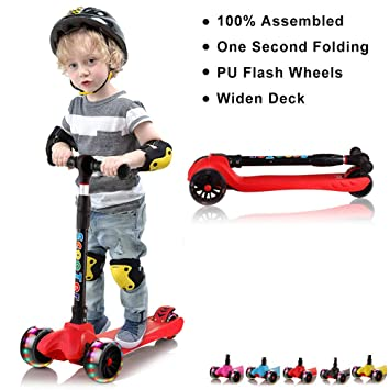 Amazon.com: 67i Kick Scooter para niños 3 ruedas patinetes ...
