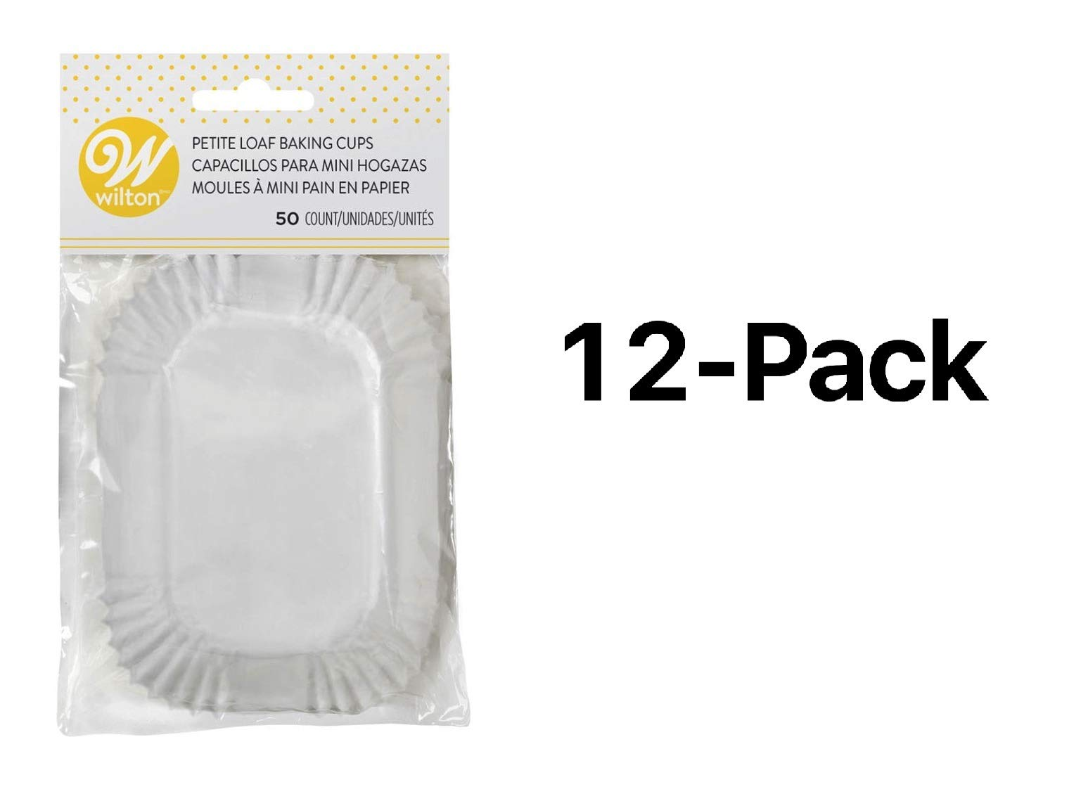 Wilton Mini Loaf Baking Liner/Cups White 50 Pack Bread/Muffins/Cake (12-Pack) by Wilton