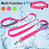 FAYOGOO Dog Leash Hands-Free 6 Feet Pet Training Leash - Durable Waterproof Nylon Dog Leash with Dog Collar - Soft Handle and Light Weight Training Walking Leashes for Medium Large Dogs Pink