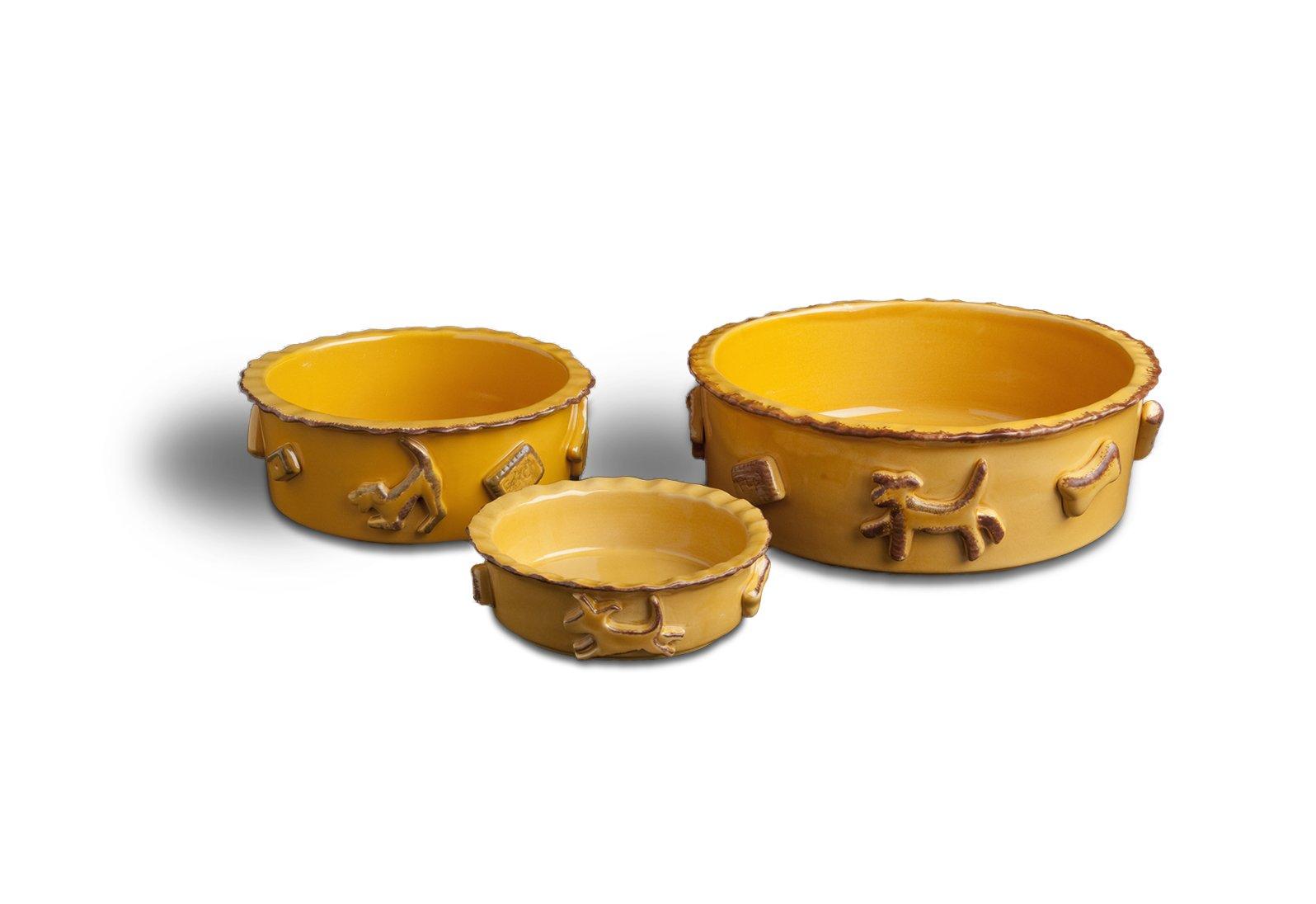 Carmel Ceramica PDLC3005 Caramel Dog Food/Water Bowl, Large