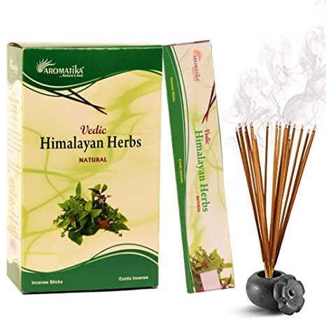 Aromatika vedic Himalayan Herbs natural masala incense sticks pack of 12 of 15 gm Each| handrolled in India | organic| best for ...