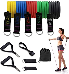 KeFanta Fitness Resistance Bands Set,Exercise Bands with Handles for Women/Man Home Resistance Training,Perfect Muscle Builder Workout Bands