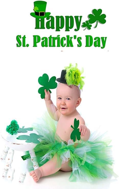 TIANRUN Baby Girls St Patrick/'s Day Outfit Green Shamrock Bodysuit Romper Dress Tutu Skirt Irish Party Costume Clothes Set