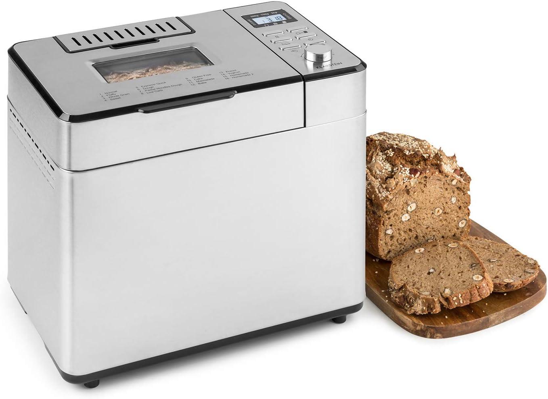 Klarstein Brotilde Family - Machine à pain, 14 programmes, 3 degrés de cuisson différents, fonction réchauffage, minuterie, écran LCD, fenêtre de visualisation, doseur d'ingrédients, inox