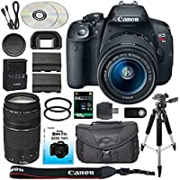 Canon EOS Rebel T5i/700D DSLR Camera + 18-55mm IS STM Portrait Lens + EF 75-300mm III Telephoto Lens + Spare LP-E8 Battery + Camera Case + Remote + 64GB SDXC Card & More - International Version