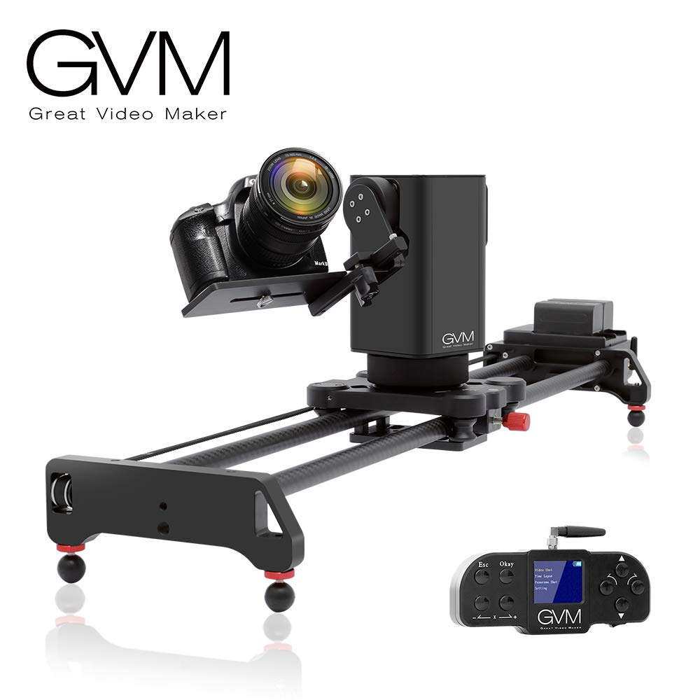 GVM Motorized Camera Slider Track Dolly for DSLR Camera Slider with 3- Axis for Multi-Targets Switching and Shooting Equipped with Wireless Controller Tracking Shooting Video Slider for Interview by GVM Great Video Maker