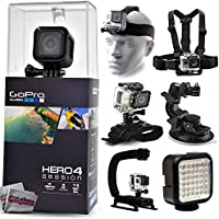 GoPro Hero 4 HERO4 Session CHDHS-101 with Headstrap + Chest Harness Mount + Wrist Glove Strap + Suction Cup + LED Light + Opteka X-Grip Action Stabilizer