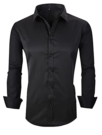 879dad0f73a RS Men s Casual Long Sleeve Business Slim Fit Button Down Dress Shirts 18  Black AS XL