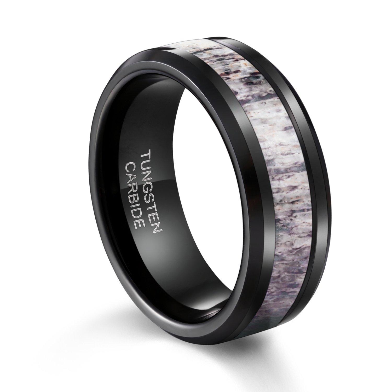 TUSEN JEWELRY Black Tungsten Ring Polished Finish Deer Antler Inlay Mens Wedding Band 8mm Size:8