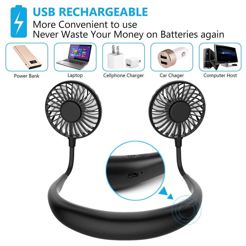 Hand Free Personal Fan,Wearable Neck Hanging Fan w//LED Light /& Aroma,Portable Mini Fan USB Rechargeable Neckband Sport Fan Desktop Cooler Fan,3 Speeds 360/° Rotate for Outdoor Sports Travel Office