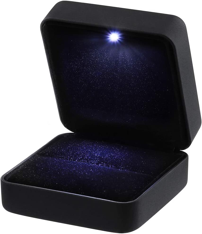 VORCOOL Pendientes de Cuero de PU, Monedas, Joyas, Caja de Anillo, Estuche, con LED Iluminado para propuesta, Compromiso, Boda, Regalo (Negro)