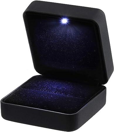 VORCOOL Pendientes de Cuero de PU, Monedas, Joyas, Caja de Anillo, Estuche, con LED Iluminado para propuesta, Compromiso, Boda, Regalo (Negro): Amazon.es: Hogar