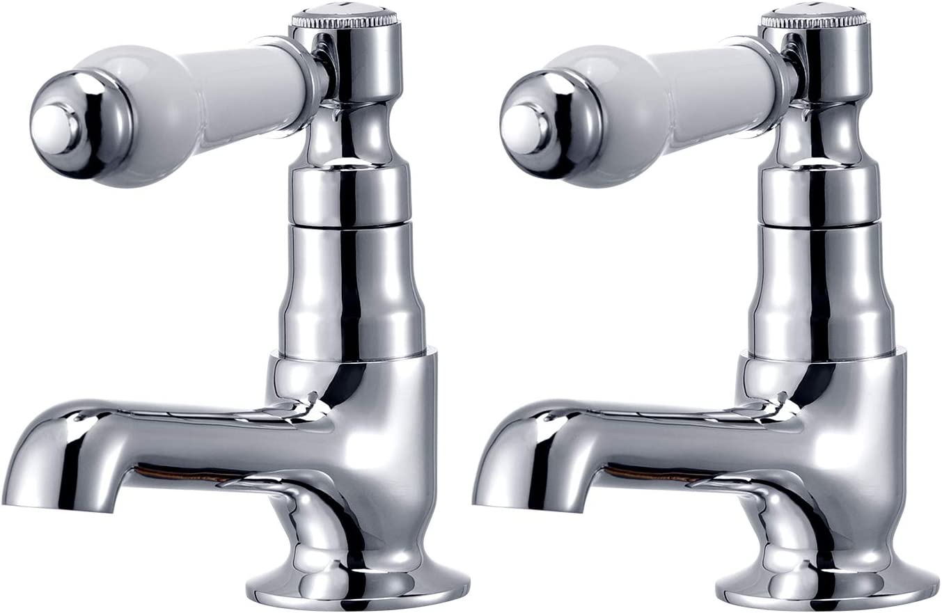 Hapilife 10 Years Warrany Traditional Bathroom Twin Ceramic Handles Basin Sink Hot Cold Taps Chrome White