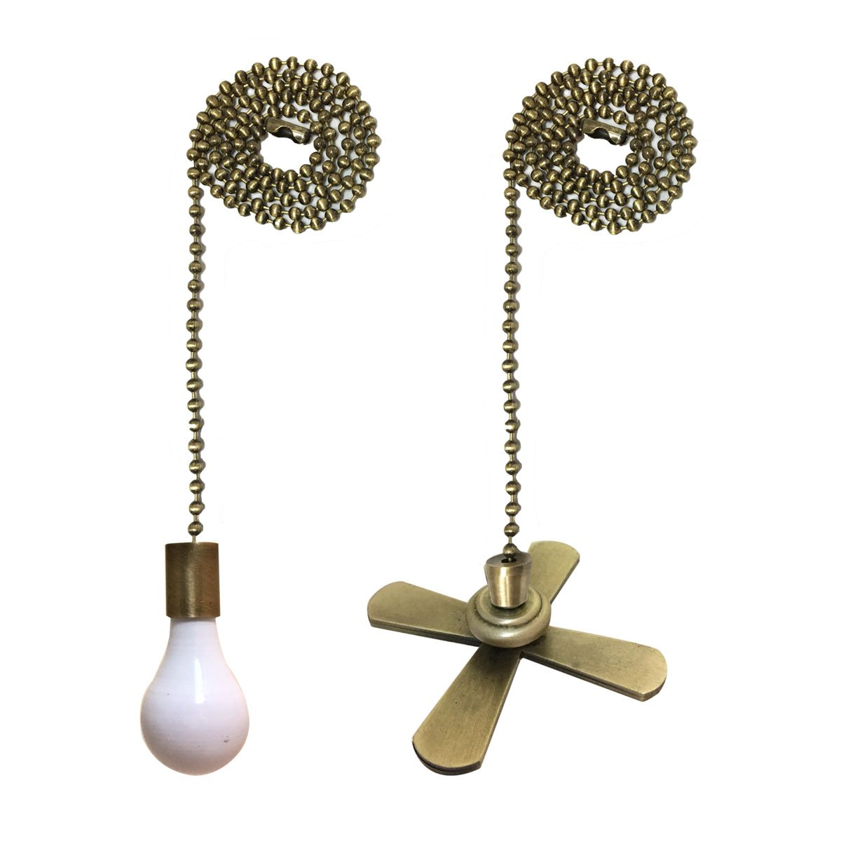 Royal Designs FP-1001-2-A-B Metal Fan and Light Bulb Pull Chain, Antique Brass & White