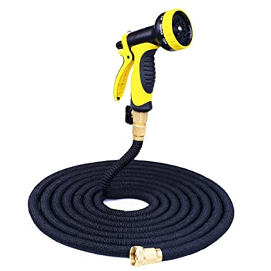 Supmovo 100ft Garden Hose, Double Latex Core Expandble Water Hose with 3/4 Solid Brass Fittings, Flexible Expanding Hose with 9 Function Spray Nozzle