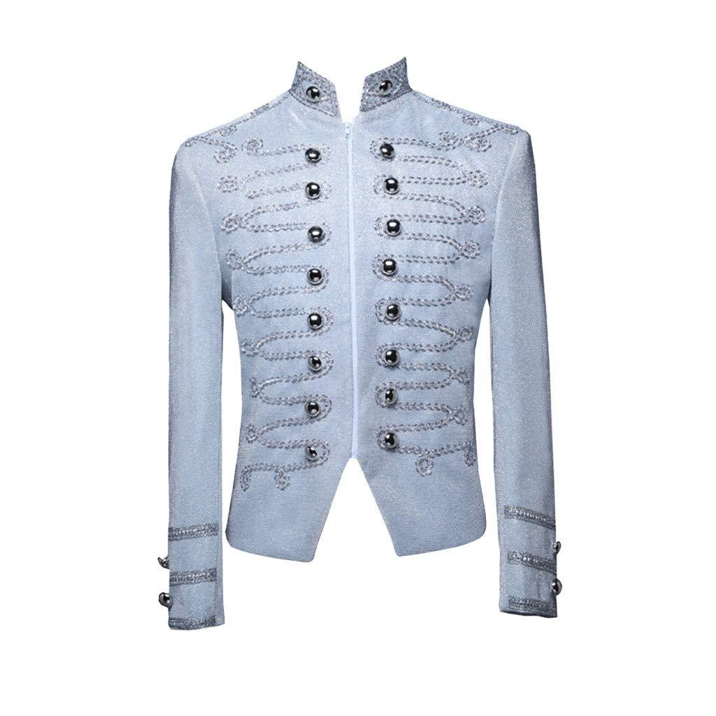 Pervobs Mens European Style Court Costumes Military Uniforms Performances Coat Jacket Outerwear(XL, White) by Pervobs Men Coat&Jacket