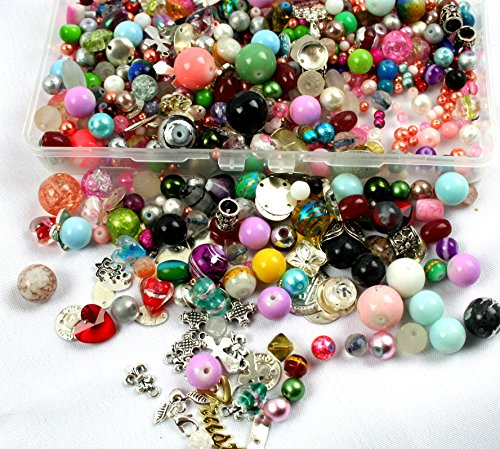 Glass Beads in Bulk 3/4 Pound Lot with Mixed Assorted Metal Charms Findings | Storage Container ()