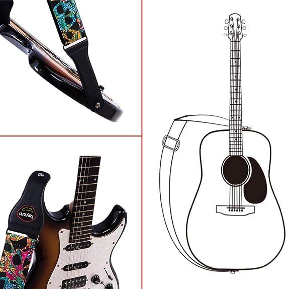 Rayzm Correa de la Guitarra y Bajo, Correa Grande de Algodón para ...