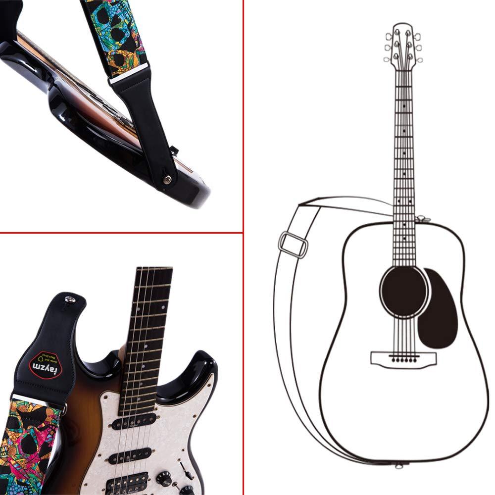 Einstellbar Schultergurt mit Schädel Muster für Akustische Gitarre,E-Gitarre