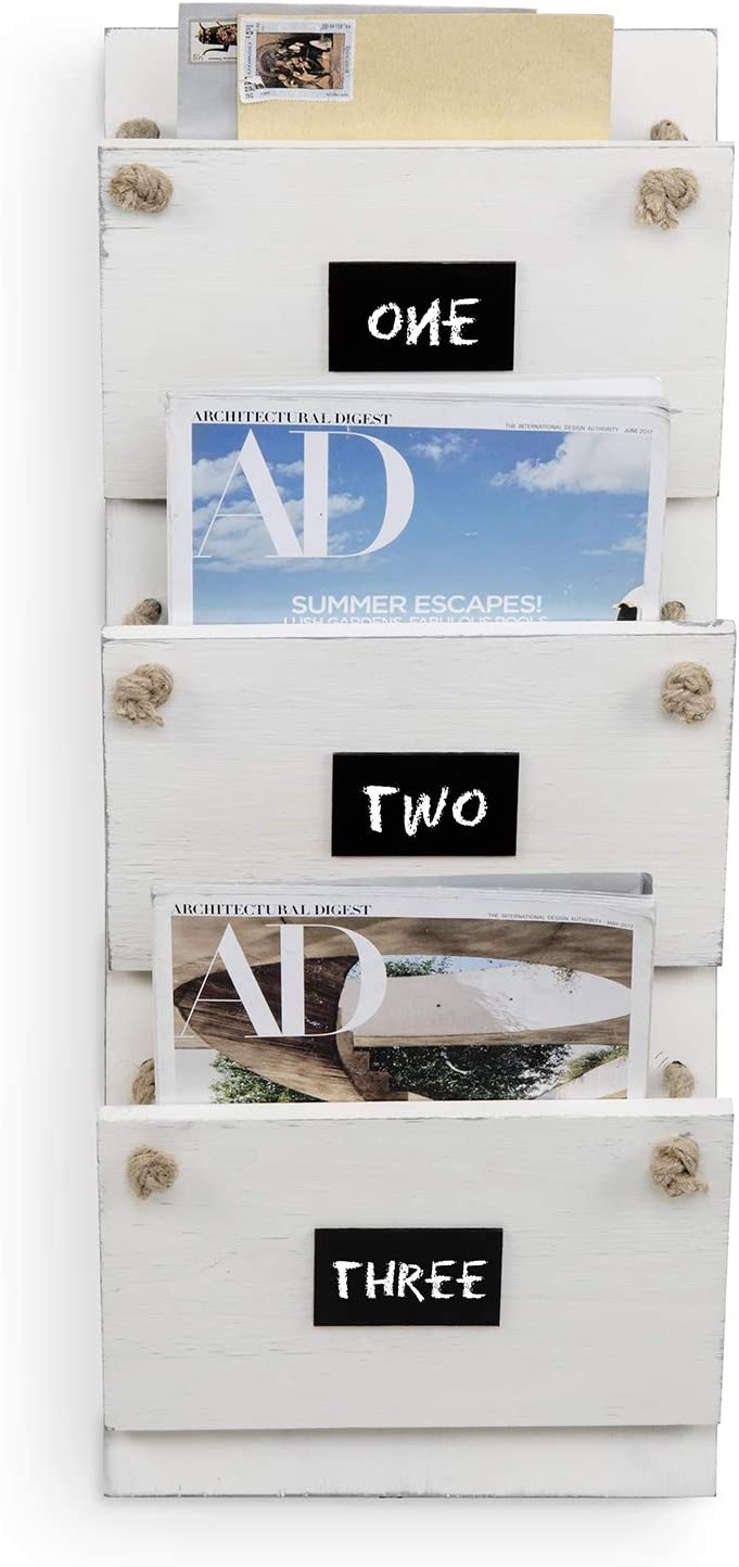 MyGift 3-Slot Wall Mounted Vintage White Wood Mail Holder//Magazine Rack with Rustic Rope /& Chalkboard Labels