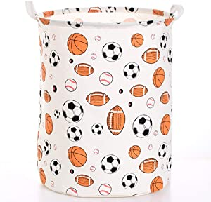 Laundry Hamper with Handles, Folding Waterproof Storage Bucket, 80 Litres Canvas Fabric Laundry Baskets for Toys Clothing, 16 X 20 Inches,B