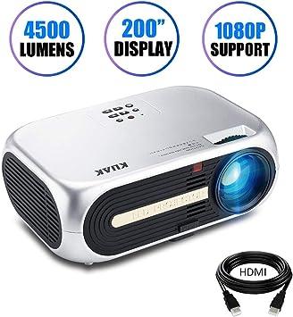 Proyector de Cine en casa LED Full HD pel/ículas 1920 x 1080 Smartphone Video Juegos de f/útbol Compatible con HDMI USB SD VGA AV Laptop Proyector Native 1080p