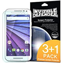 Moto G 3rd Gen. 2015 Screen Protector - Invisible Defender [3-PACK + 1 FREE EXTRA BONUS SHEET][Scratch Resistant] Crystal Clear HD Screen Protector with Lifetime Warranty for Motorola Moto G 3rd Gen. 2015 (4-Pack)