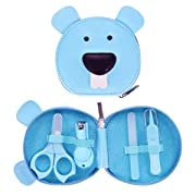 Baby Manicure Set with Baby Nail Clipper Nail Scissors Nail File Nasal Twee with Cute Bag Newborns Infant Toddlers 4 in 1 Nail kit for Baby Boys and Girls