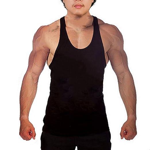 39ef74492c1cd5 WAYLONGPLUS Mens Fitness Gym Tank Tops for Bodybuilding Stringer Muscle  Workout (Medium