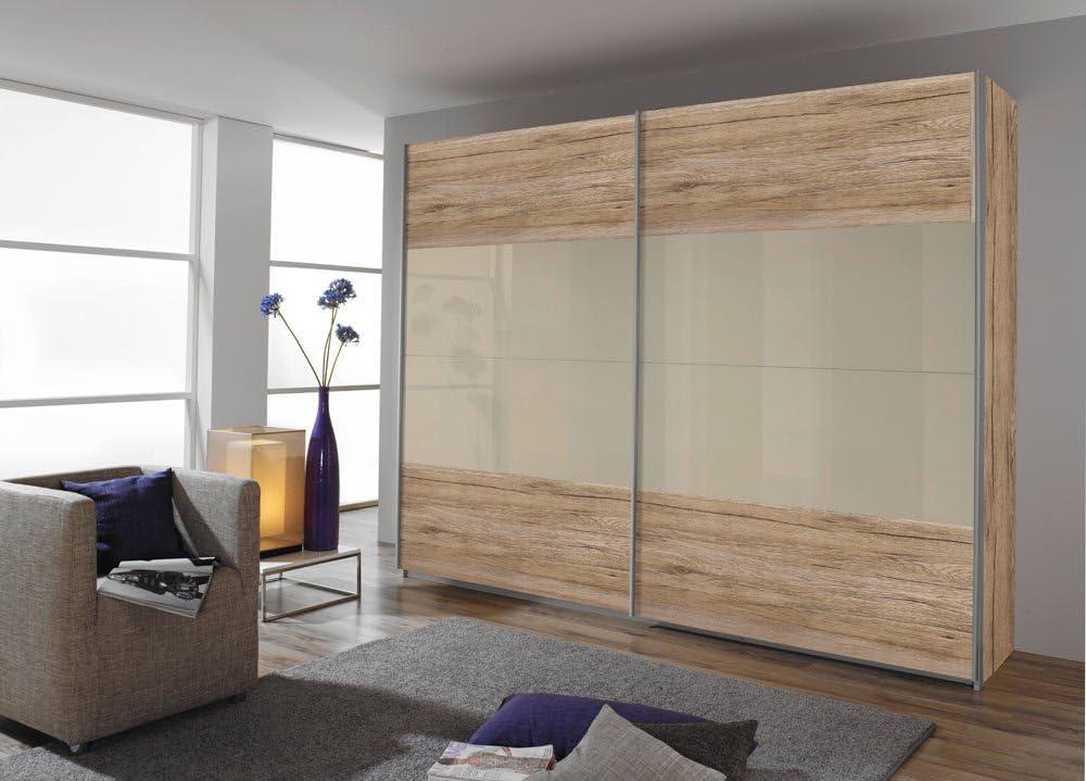 Armario de puertas correderas en roble San Remo-Imitación de brillante arena gris, 3 estantes y 3 barras, tamaño: B/H/T aprox 271/210/57 cm: Amazon.es: Hogar