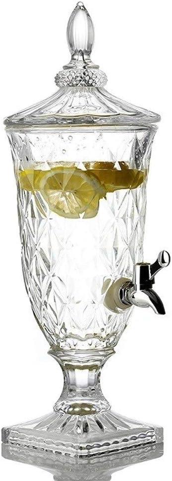 MYXMY Mesa de postres Frasco de Jugo de Vidrio Europeo Mesa fría con Grifo autoservicio Máquina de Agua hirviendo Botella de Vino para el hogar (Size : 3.3L)