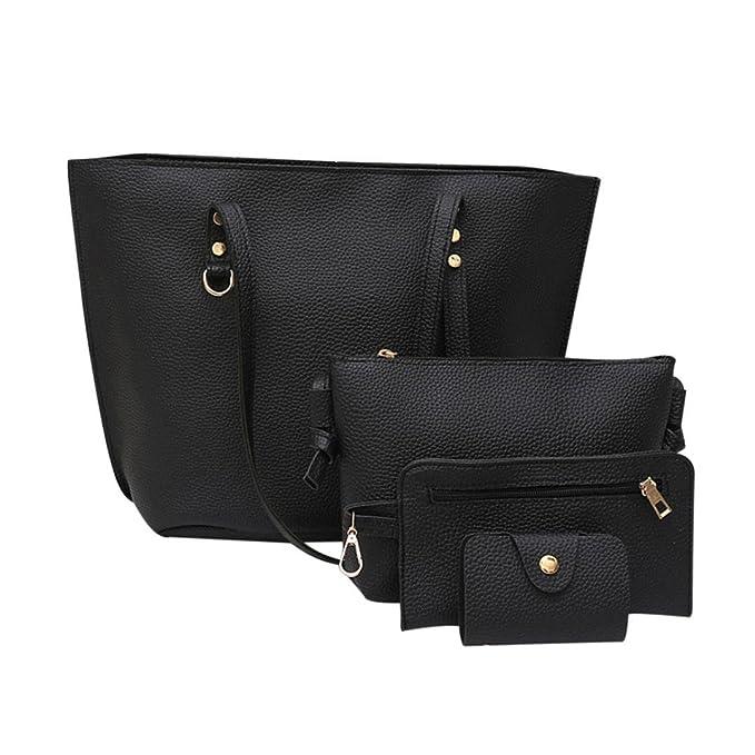 Toamen Bag Bolso De Cuero Del PatróN Del Litchi De Las Mujeres 4Pcs + Bolso De
