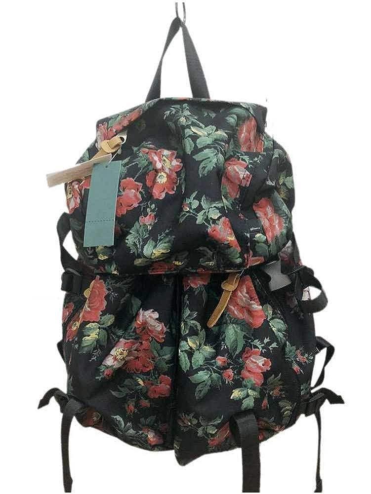 [SUPER HAKKA(スーパーハッカ)]glanta (グレンタ)ローズアイビー(花柄)プリントリュック レディース BAG バッグ リュックサック 04070184  ブラック B07HB27N86