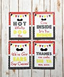 set of 4 Mickey party sign | 8x 10 inch Mickey Mouse Birthday Sign Printed in Cardstock | Mickey Mouse Party supplies | Mickey Mouse Clubhouse inspired Door Sign | Hot Diggity Dog Bar Party Sign