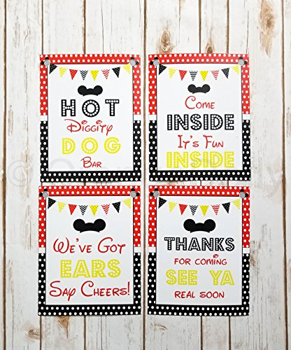 set of 4 Mickey party sign | 8x 10 inch Mickey Mouse Birthday Sign Printed in Cardstock | Mickey Mouse Party supplies | Mickey Mouse Clubhouse inspired Door Sign | Hot Diggity Dog Bar Party Sign]()