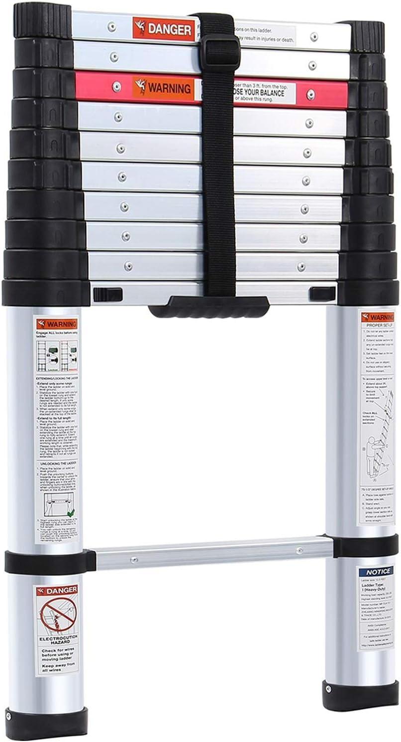 Lionladder 10.5FT ANSI Type I Aluminum telescoping ladders - Extendable Slow-Down Telescopic Ladder (Black)