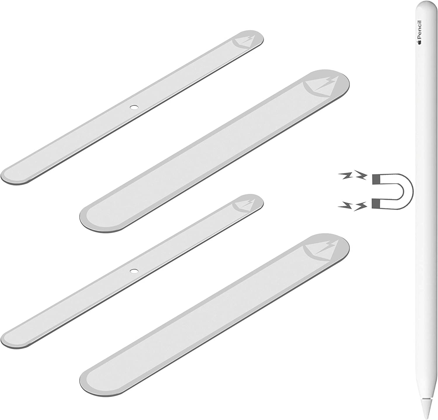 TXEsign Set of 4 Adhesive Metal Plate Compatible with Magnetic Apple Pencil 2nd Generation (2pcs Small & 2pcs Large)