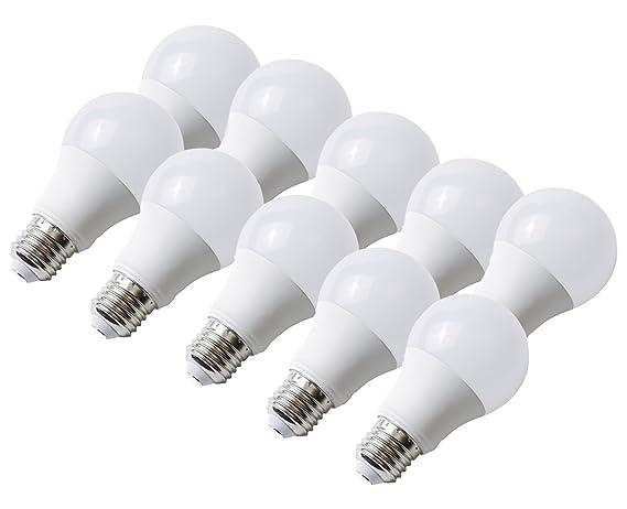 10 unidades Bombilla LED E27 10 W blanco cálido ángulo de haz 300
