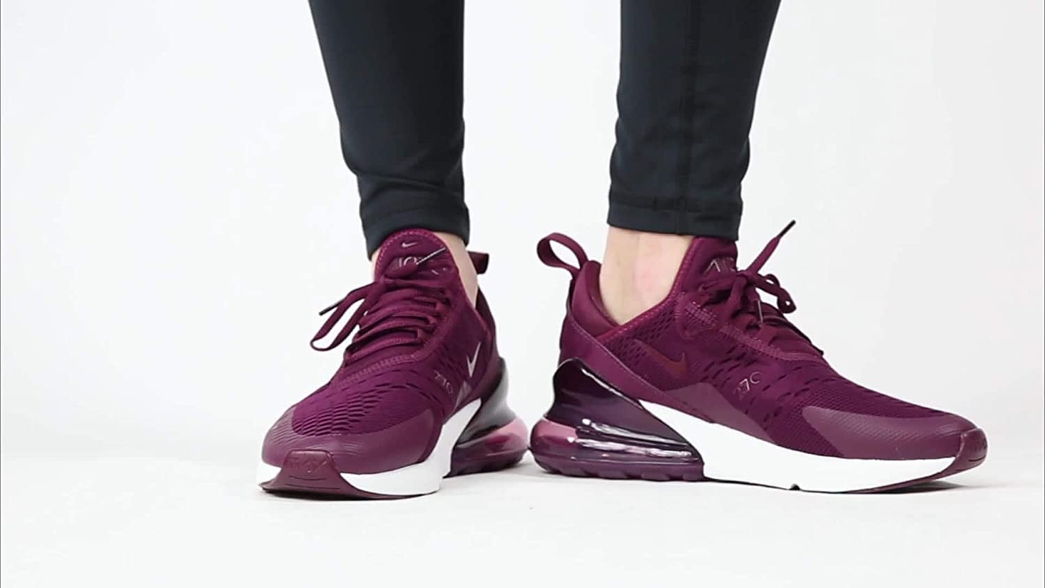 ecuación angustia Dictar  Amazon.com: Nike Air Max 270 - Zapatos para mujer (8.5, color morado y  blanco): Shoes