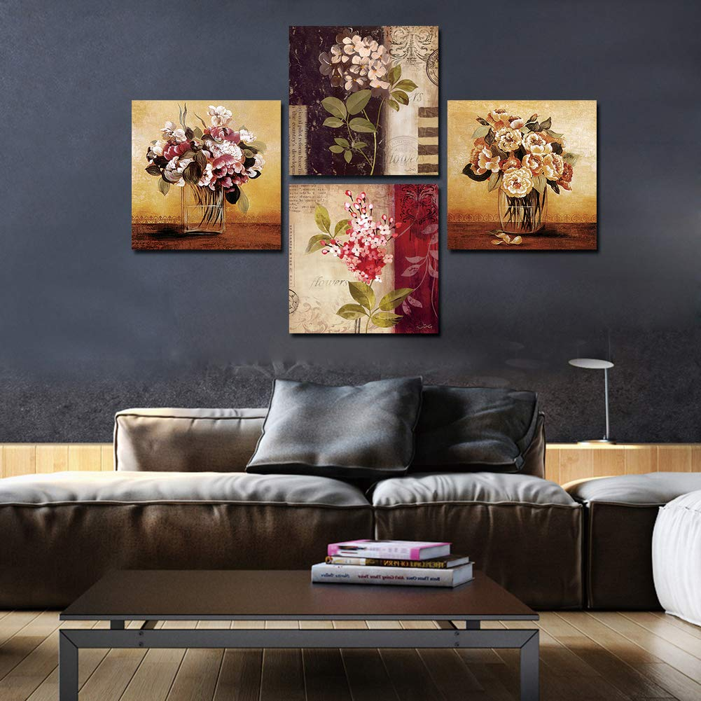 Youtong Wall Artwork Print Canvas Painting Wooden Frame Ready to Hang 4 Panel 12x12 Inches Flower Water Fruit Poster Picture Home Decor Living Room Accessories