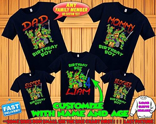 TMNT Ninja Turtles birthday shirt, Teenage Mutant Ninja Turtles birthday tshirt, tmnt theme party shirts, ninja turtles family matching shirts