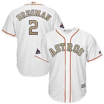 615144578 Majestic Alex Bregman  2 Houston Astros Cool Base MLB Trikot Gold w Champs  Patch