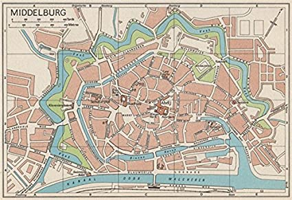 Amazon.com: MIDDELBURG. Vintage town city map plan. Netherlands ...