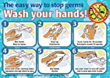 "Hand Washing Sign: Mirror Cling 5-Pack (English/Spanish) 5"" x 7"" T001"