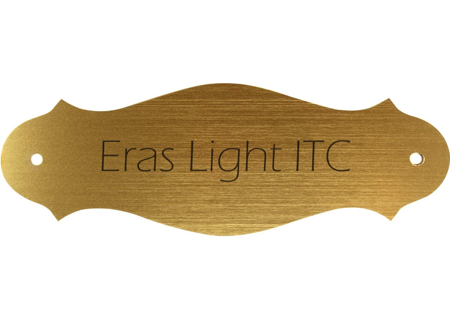 Letrero para la casa con texto personal deseado, Letrero de plá stico dorado-metá lico, 130 x 47 mm, curvo, tipo de letra: Eras Light ITC Letrero de plástico dorado-metálico Kopierladen