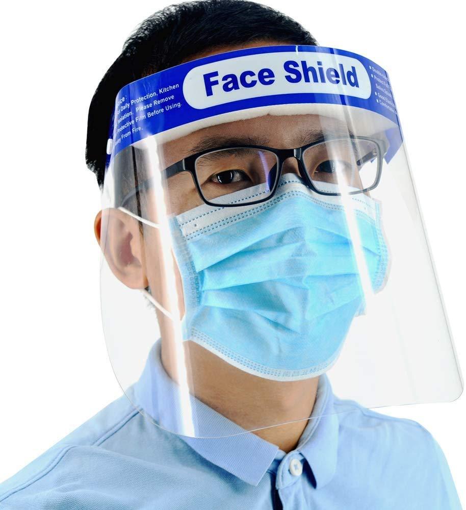 10PCS Protector Facial de Seguridad Tapa de Protecci/ón Completa,Visera Protectora Transparente Ajustable para Ojos y Cabeza Cubierta Antivaho Anti-UV Visor para Laboratorio//Cocina//al Aire Libre