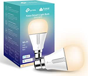 TP-Link Kasa Smart Wi-Fi Light Bulb, Dimmable, No Hub Required, B22 Lamp Base, Control from Anywhere, Works with Alexa & Google (KL110B),White